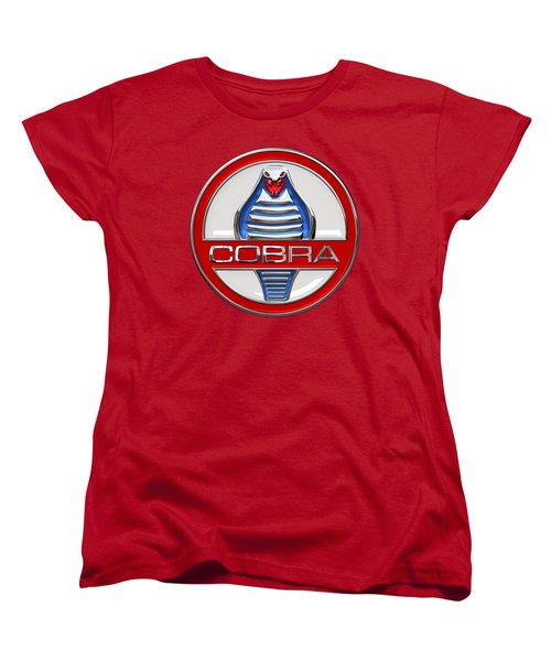 Shelby Ac Cobra - Original 3d Badge On Red Women's T-Shirt (Standard Cut) by Serge Averbukh