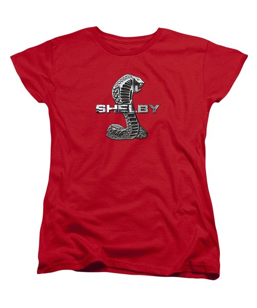 Shelby Cobra - 3d Badge On Red Women's T-Shirt (Standard Cut) by Serge Averbukh