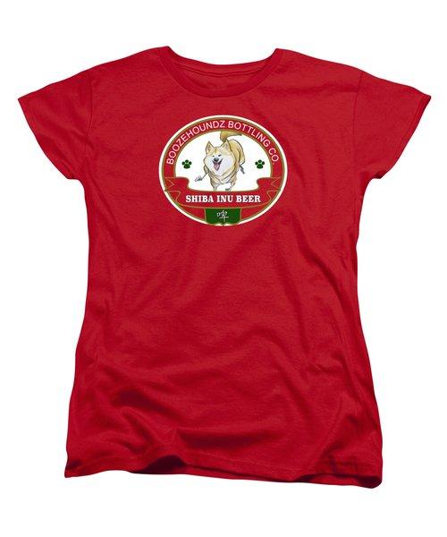 Shiba Inu Beer Women's T-Shirt (Standard Cut) by John LaFree