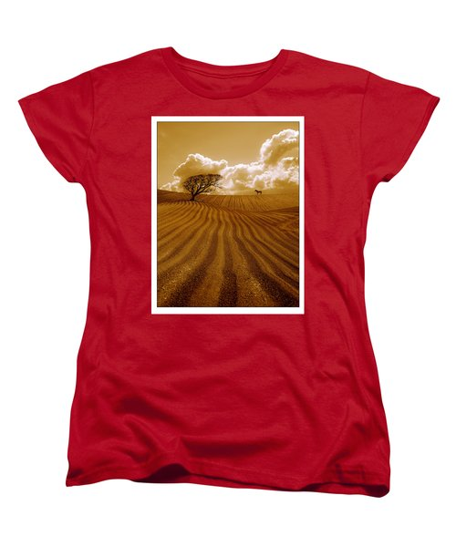 The Ploughed Field Women's T-Shirt (Standard Cut) by Mal Bray