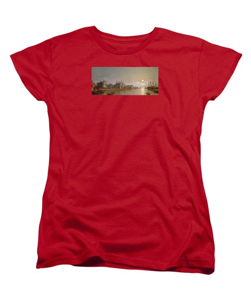 The Thames By Moonlight With Traitors' Gate And The Tower Of London Women's T-Shirt (Standard Cut) by Henry Pether