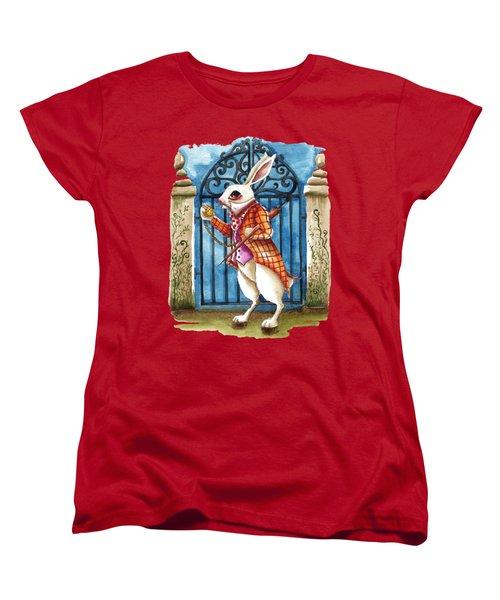 The White Rabbit Late Again Women's T-Shirt (Standard Cut) by Lucia Stewart