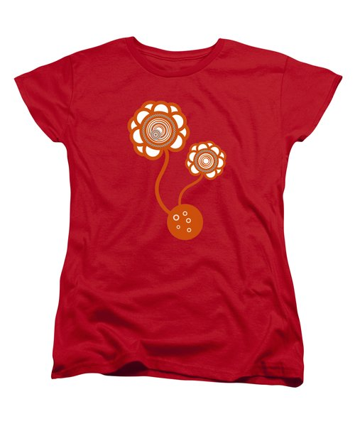 Two Orange Flowers Women's T-Shirt (Standard Cut) by Frank Tschakert
