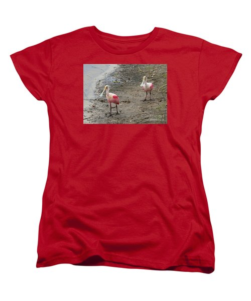 Two Roseate Spoonbills 2 Women's T-Shirt (Standard Cut) by Carol Groenen