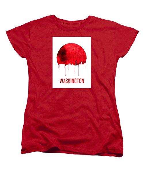 Washington Skyline Red Women's T-Shirt (Standard Cut) by Naxart Studio