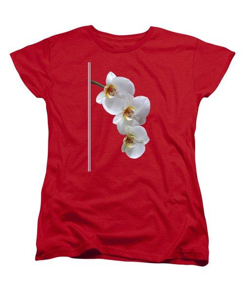White Orchids On Terracotta Vdertical Women's T-Shirt (Standard Cut) by Gill Billington