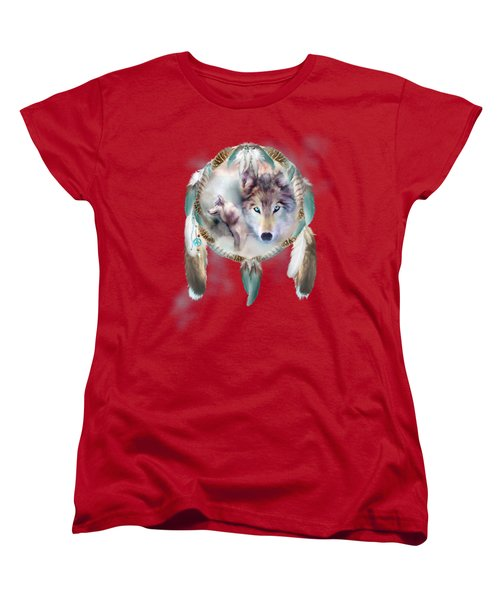Wolf - Dreams Of Peace Women's T-Shirt (Standard Cut) by Carol Cavalaris