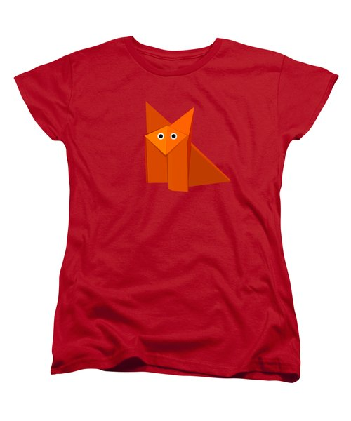 Yellow Cute Origami Fox Women's T-Shirt (Standard Cut) by Boriana Giormova