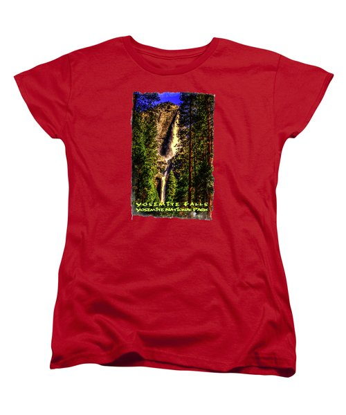 Yosemite Falls Framed By Ponderosa Pines Women's T-Shirt (Standard Cut) by Roger Passman