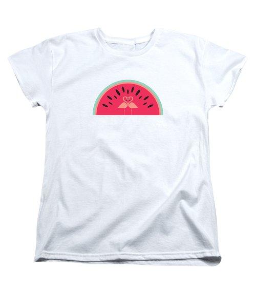 Flamingo Watermelon Women's T-Shirt (Standard Cut) by Susan Claire