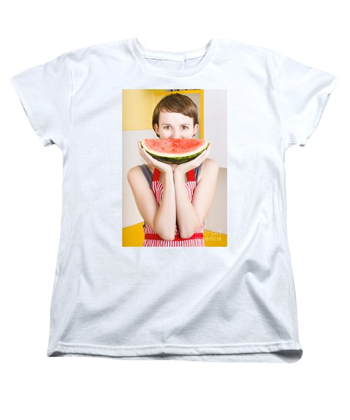 Funny Woman With Juicy Fruit Smile Women's T-Shirt (Standard Cut) by Jorgo Photography - Wall Art Gallery