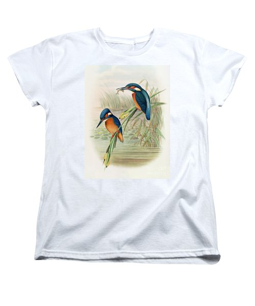 Alcedo Ispida Plate From The Birds Of Great Britain By John Gould Women's T-Shirt (Standard Cut) by John Gould William Hart