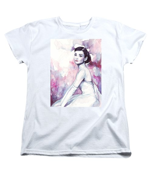 Audrey Hepburn Purple Watercolor Portrait Women's T-Shirt (Standard Cut) by Olga Shvartsur