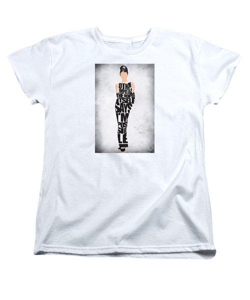 Audrey Hepburn Typography Poster Women's T-Shirt (Standard Cut) by Ayse Deniz