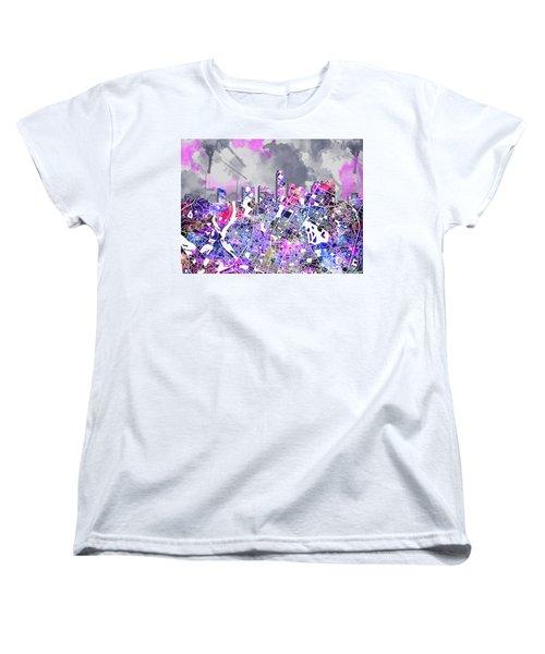 Austin Texas Watercolor Panorama2 Women's T-Shirt (Standard Cut) by Bekim Art