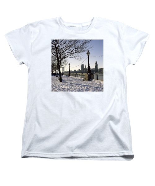 Big Ben Westminster Abbey And Houses Of Parliament In The Snow Women's T-Shirt (Standard Cut) by Robert Hallmann