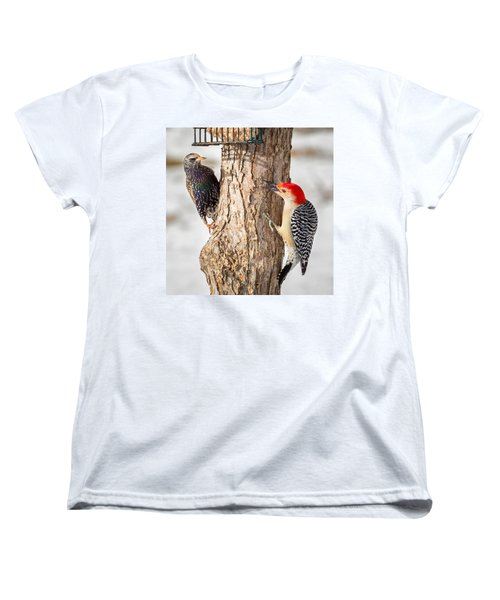 Bird Feeder Stand Off Square Women's T-Shirt (Standard Cut) by Bill Wakeley