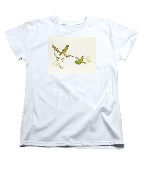 Blue Crowned Parakeet Hannging On A Magnolia Branch Women's T-Shirt (Standard Cut) by Chinese School