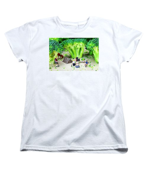 Camping Among Broccoli Jungles Miniature Art Women's T-Shirt (Standard Cut) by Paul Ge