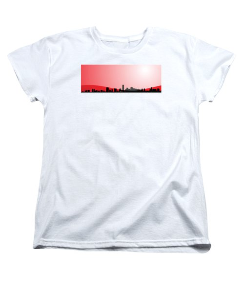 Cityscapes - Miami Skyline In Black On Red Women's T-Shirt (Standard Cut) by Serge Averbukh