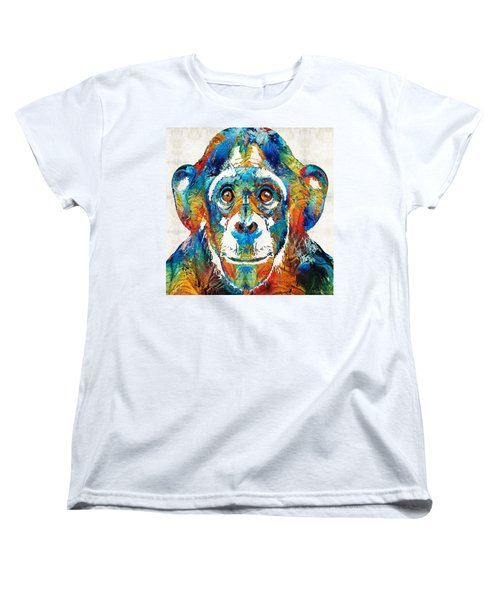 Colorful Chimp Art - Monkey Business - By Sharon Cummings Women's T-Shirt (Standard Cut) by Sharon Cummings