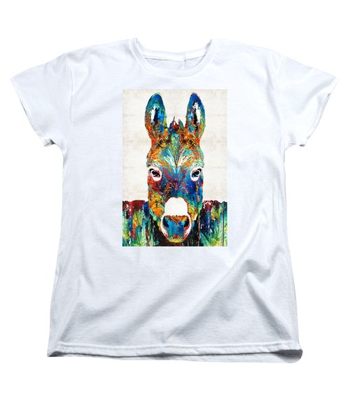 Colorful Donkey Art - Mr. Personality - By Sharon Cummings Women's T-Shirt (Standard Cut) by Sharon Cummings