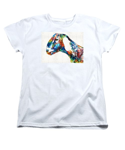 Colorful Goat Art By Sharon Cummings Women's T-Shirt (Standard Cut) by Sharon Cummings