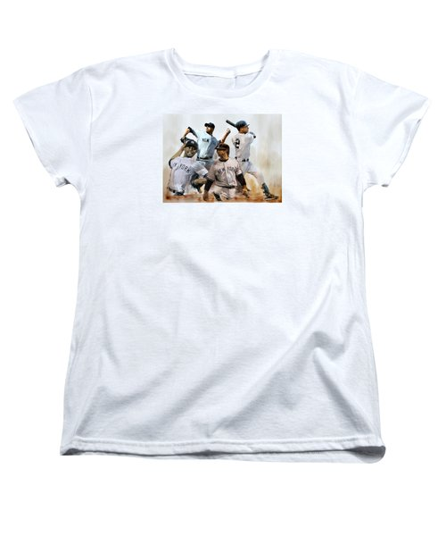 Core  Derek Jeter Mariano Rivera  Andy Pettitte Jorge Posada Women's T-Shirt (Standard Cut) by Iconic Images Art Gallery David Pucciarelli