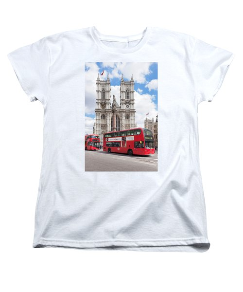 Double-decker Buses Passing Women's T-Shirt (Standard Cut) by Panoramic Images