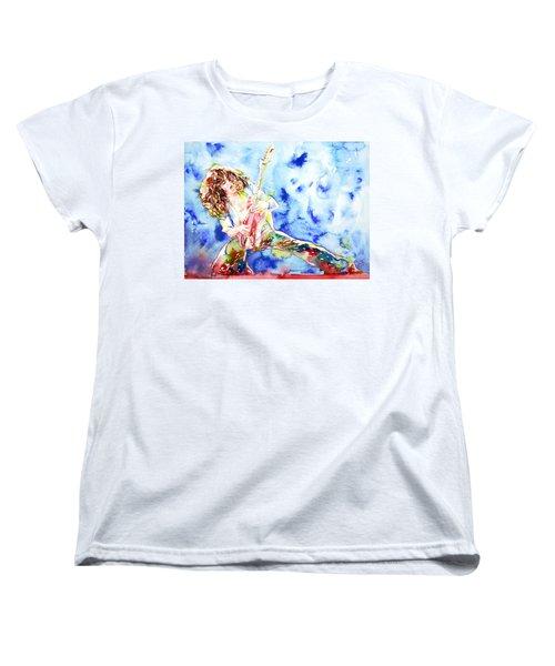 Eddie Van Halen Playing The Guitar.1 Watercolor Portrait Women's T-Shirt (Standard Cut) by Fabrizio Cassetta
