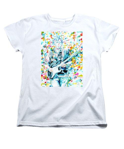 Eric Clapton - Watercolor Portrait Women's T-Shirt (Standard Cut) by Fabrizio Cassetta