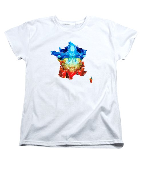 France - European Map By Sharon Cummings Women's T-Shirt (Standard Cut) by Sharon Cummings