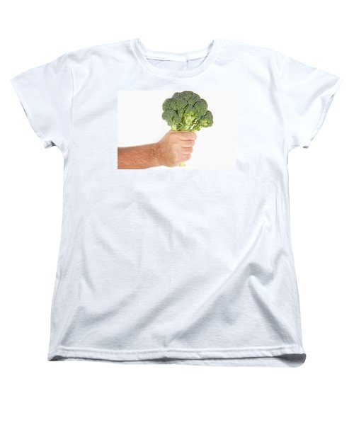 Hand Holding Broccoli Women's T-Shirt (Standard Cut) by James BO  Insogna