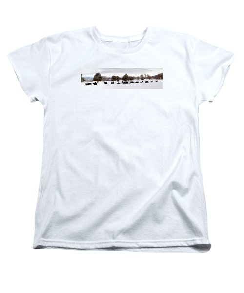 Herd Of Yaks Bos Grunniens On Snow Women's T-Shirt (Standard Cut) by Panoramic Images