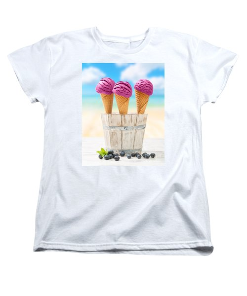 Icecreams With Blueberries Women's T-Shirt (Standard Cut) by Amanda Elwell