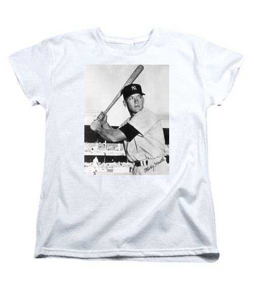 Mickey Mantle At-bat Women's T-Shirt (Standard Cut) by Gianfranco Weiss