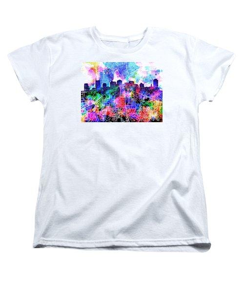 Nashville Skyline Watercolor 5 Women's T-Shirt (Standard Cut) by Bekim Art