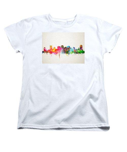 Nashville Skyline Watercolor 9 Women's T-Shirt (Standard Cut) by Bekim Art
