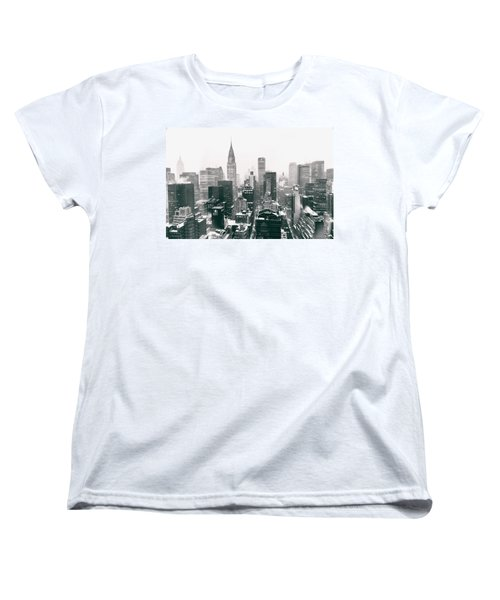 New York City - Snow-covered Skyline Women's T-Shirt (Standard Cut) by Vivienne Gucwa