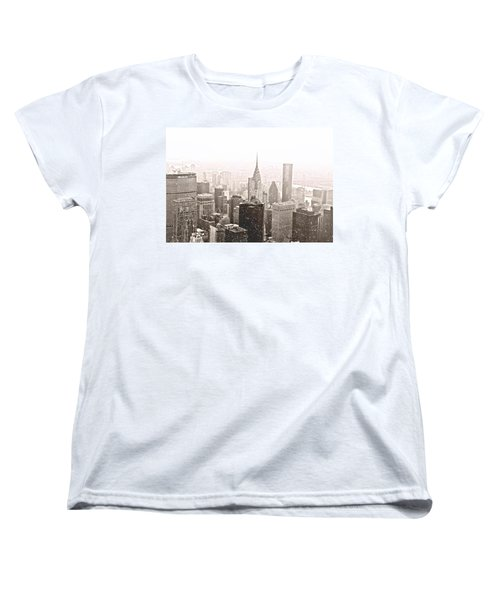 New York Winter - Skyline In The Snow Women's T-Shirt (Standard Cut) by Vivienne Gucwa