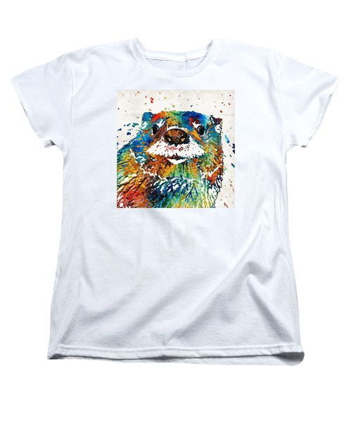 Otter Art - Ottertude - By Sharon Cummings Women's T-Shirt (Standard Cut) by Sharon Cummings