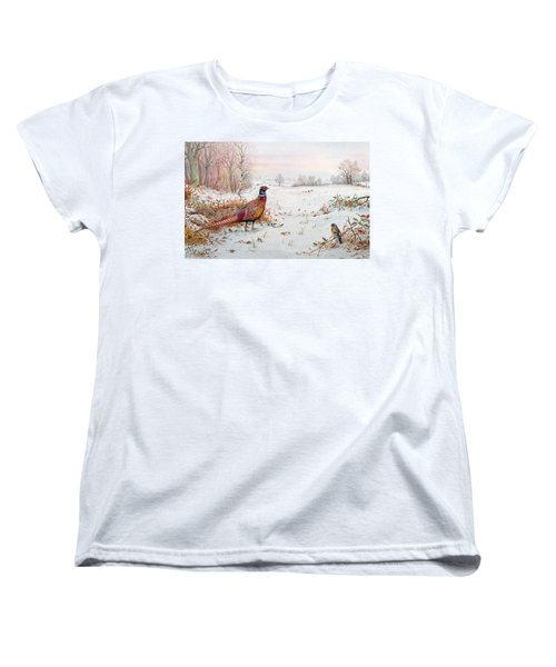 Pheasant And Bramblefinch In The Snow Women's T-Shirt (Standard Cut) by Carl Donner