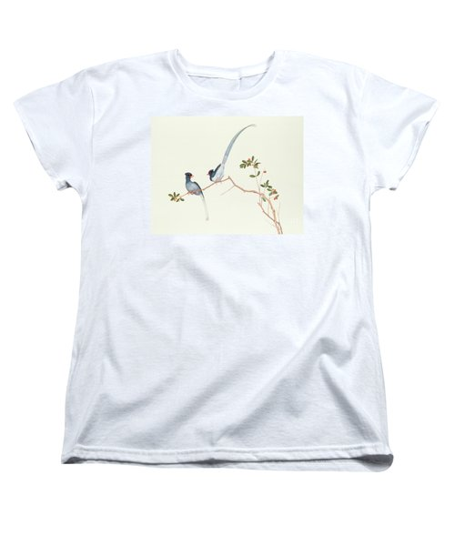 Red Billed Blue Magpies On A Branch With Red Berries Women's T-Shirt (Standard Cut) by Chinese School