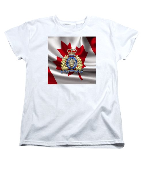 Royal Canadian Mounted Police - Rcmp Badge Over Waving Flag Women's T-Shirt (Standard Cut) by Serge Averbukh