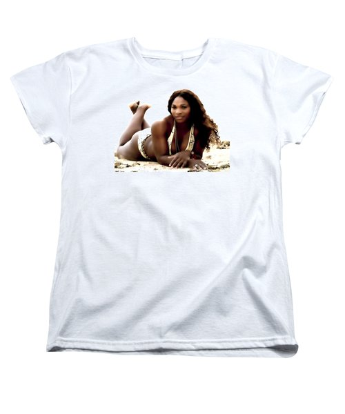 Serena Williams In The Sand Women's T-Shirt (Standard Cut) by Brian Reaves