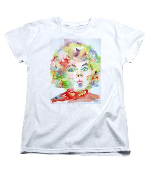 Shirley Temple - Watercolor Portrait.2 Women's T-Shirt (Standard Cut) by Fabrizio Cassetta