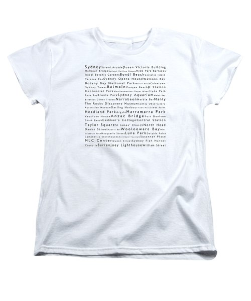 Sydney In Words White Women's T-Shirt (Standard Cut) by Sabine Jacobs