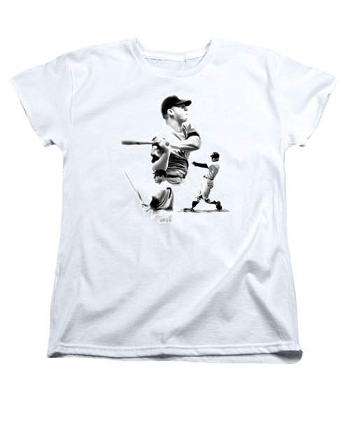 The Mick  Mickey Mantle Women's T-Shirt (Standard Cut) by Iconic Images Art Gallery David Pucciarelli