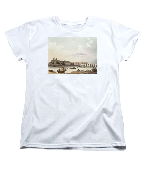 View Of Westminster And The Bridge Wc On Paper Women's T-Shirt (Standard Cut) by English School