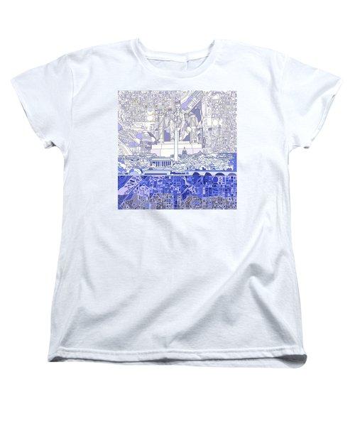 Washington Dc Skyline Abstract 3 Women's T-Shirt (Standard Cut) by Bekim Art